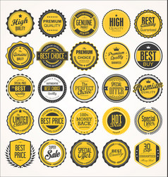 retro vintage badge and label black and yellow vector image