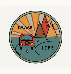 Round sticker with vintage van in retro style vector