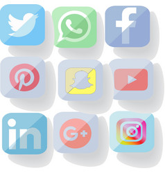 Rounded square social media icon set vector