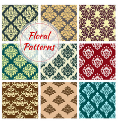 seamless floral damask patterns set vector image