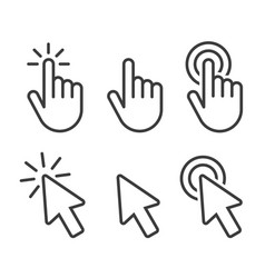 Set hand cursor icons click and cursor icons vector