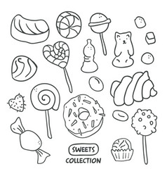 set hand drawn candies donut lollipop candy vector image
