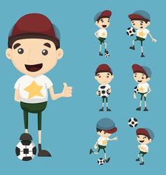 Set of boy play football vector