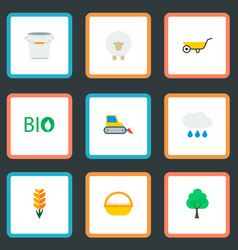 set of harvest icons flat style symbols with bio vector image
