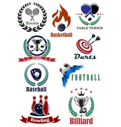 Set of sports tournament emblems and badges vector image