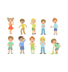 Sick kids characters set boys and girls suffering vector