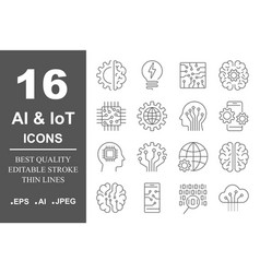 simple set of artificial intelligence related line vector image