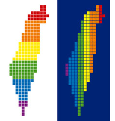 spectrum pixel dotted israel map vector image