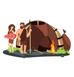 stone age family with fireplace and home vector image
