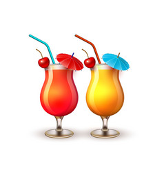 summer vacation realistic cocktail glass vector image