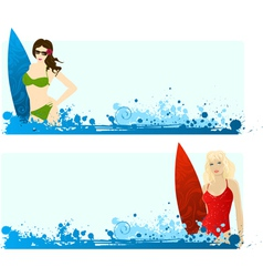 surf girls vector image