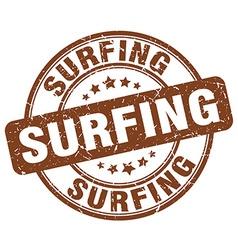 surfing brown grunge round vintage rubber stamp vector image
