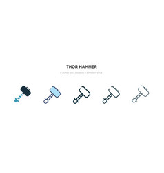Thor hammer icon in different style two colored vector