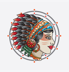 Traditional indian girl head tattoo vector