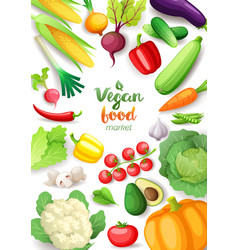 vegetables top view frame vegan food market vector image