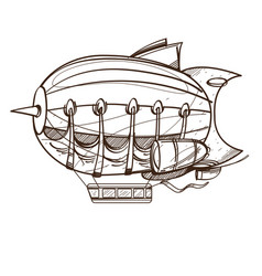 Vintage airship outline drawing for coloring vector