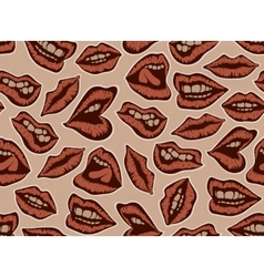 Vintage red lips pattern vector