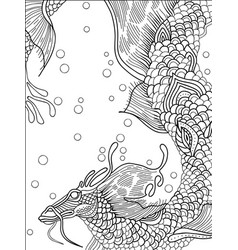 water dragon graphic black and white sketch vector image