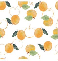 watercolor orange fruit seamless pattern vector image