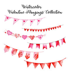 Watercolor valentine hanging collection vector