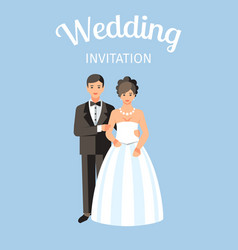 Wedding invitation postcard vector