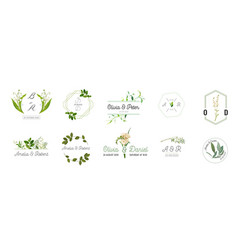 Wedding monogram logos collection floral template vector