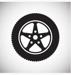Wheel icon on white background for graphic and web vector