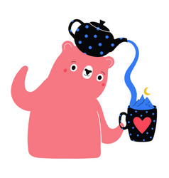 with pink bear teapot and cute tea cup vector image