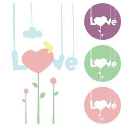 Word love hanging on strings flower heart vector image