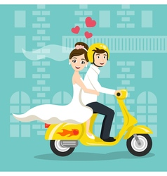 Young happy newlyweds bride and groom riding on vector