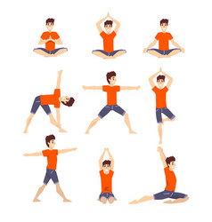 Young man in different asanas poses set man doing vector