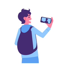 young man making selfie by smarphone vector image