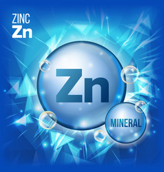 Zn zinc mineral blue pill icon vitamin vector