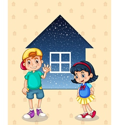 A small boy and a small girl standing in front of vector image vector image
