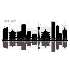beijing city skyline black and white silhouette vector image vector image