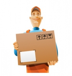 delivery service man with box vector image vector image