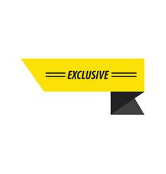 design ribbon exclusive black yellow vector image vector image