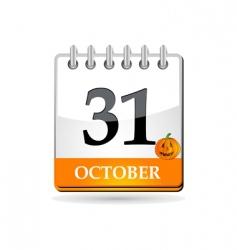 Halloween calendar with pumpkin vector image vector image
