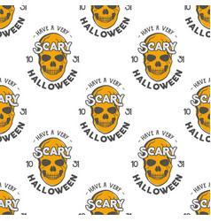halloween skulls seamless pattern with holiday vector image vector image