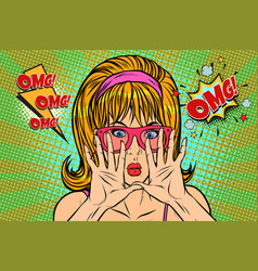 omg pop art woman hid her face vector image