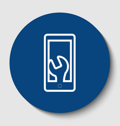 phone icon with settings white contour vector image vector image