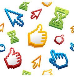 thumbs up sign computer cursor and arrows pattern vector image