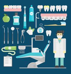 dentist symbols set health care medicine vector image vector image
