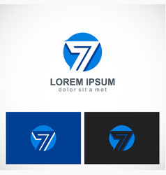 round number seven logo vector image