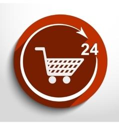 shop icon 24 hours service vector image