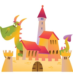 Cartoon dragon and castle vector image