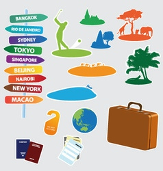 Collection of exotic trip icons vector