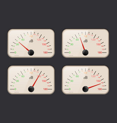 Decibel meters on dark background vector