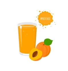 Apricot juice with yummy apricot and juicy vector