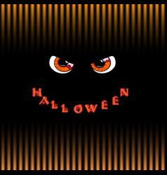 Halloween card orange predatory monster eyes and vector